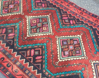 Persian Kazak Antique Runner Rug 3.5 x 7.8