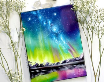 Northern Lights - Aurora Borealis - Alaska Art _ Space Art - Oil Painting - Wall Art - Inspirational - Nature - Dorm Room Decor -