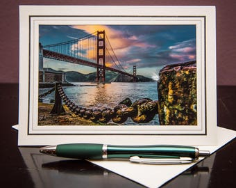 Golden Gate Bridge GC-Greeting Card-Note Card-Travel-Home Office Decor-Matted Art Print-Gift-Photo-Art-Sunrise-Chains-Bay-California-Nature