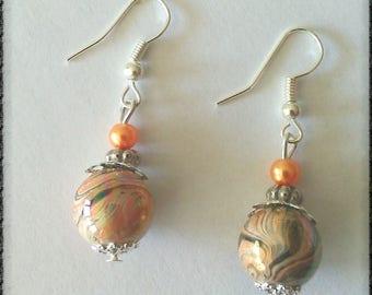 wave earrings pearls orange effects