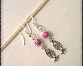 Earrings with pink metallic beads and silver charm