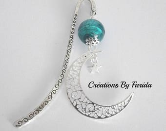 Glossy bookmark silver metal Moon under reflection turquoise bead pendant