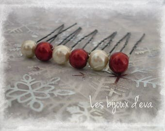 set of 6 hair pins with Burgundy and Ivory Pearl glass beads