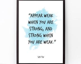 Sun Tzu, Sun Tzu Quote, Sun Tzu Art, Watercolor Quote Poster, The Art of War, Inspirational quote, Watercolor art, Deception, Life, War.