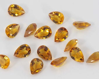 Lot of 10 Piece Natural Citrine Pear Cut Faceted Loose Gemstone for jewelry
