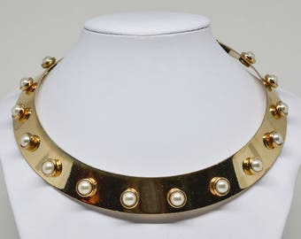 Large Cuff Gold Tone Necklace With Faux Pearls