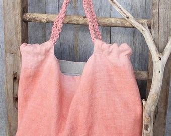 Beach Bag, Beach Tote, Tote Bag, Rope Handles Bag, Salmon Pink Bag, Natural Linen, Summer Bag, Vacation Bag, Vegan Bag, Beach Accessories