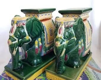 Chinoiserie elephant bookends // elephant garden stool // ceramic elephant // Asian elephant  sc 1 st  Etsy & Vintage elephant stool | Etsy islam-shia.org
