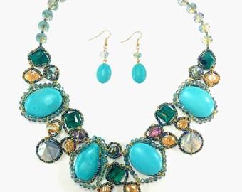 Nuri - Blue Statement Necklace & Earring Set