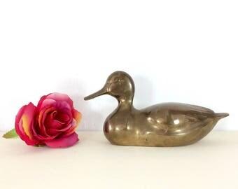 Midcentury Vintage Brass Duck. Heavy Brass Duck Figurine. Vintage Brass Décor. Gift Idea for Duck Collector. Vintage Brass Bird