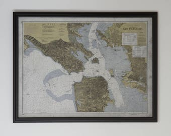 San Francisco Bay Area Map: FRAMED Hardwood MATTE BLACK  - Vintage Nautical Map of the Bay Area - 20th C.