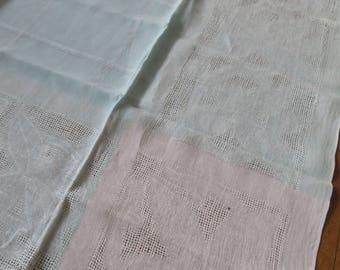 Retro Vintage 1950's Irish Linen Table Cloth- Open Weave