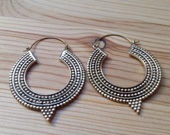 Tribal Silver Hoops . Modern Ethnic Gypsy Earrings .