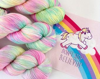 Millennial Unicorns.Hand painted yarn. Hand Dyed Yarn.Super Soft luxury 85/15 Merino/nylon 100g. 4 ply fingering weight. Unicorn yarn.