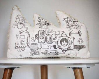 Pillow child bi material cotton and ecru wool factory pattern