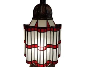 Mamounia Metal Lantern, Moroccan Handmade, Red / Frosty White Glass