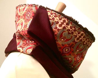 Snood /Col batik 100% cotton fabric and Burgundy jersey