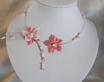set flower silk Pink/White Butterfly crystal swarovski necklace bracelet jewelry set earrings Silver 925 pin comb