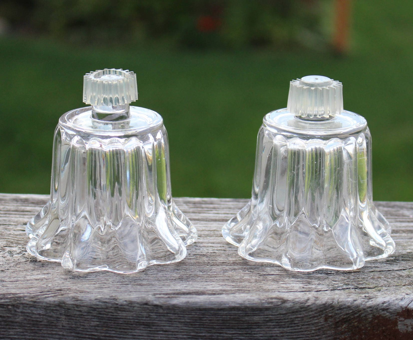 Vtg Votive Cups (Lot of 2) Small Tiny Short Fluted Ribbed for Sconces Glass & Vtg Votive Cups (Lot of 2) Small Tiny Short Fluted Ribbed for ...