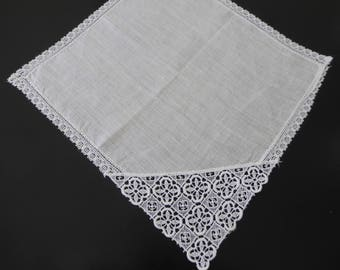 Vintage handkerchief with lace feature #124