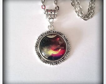 Collection _ number 3_ glass cabochon Galaxy necklace