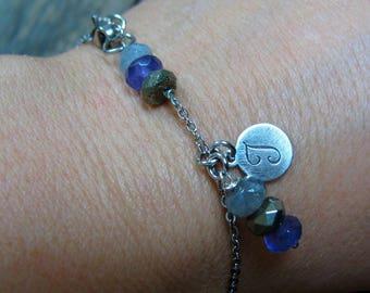 Tiny Chain Bracelet Mineral Bracelet Stone Bracelet Initial Jewelry Dainty Bracelet Stone Stainless Steel Chain Bracelet Boho Bracelet