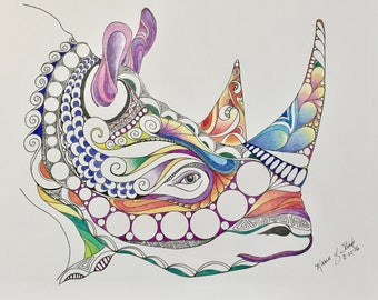 Zentangle colored rhino,safari animal,rhino head,colored zentangle,ink colored pencils,wall art, wall decor,