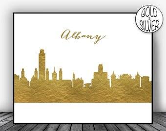 Albany NY, Albany New York, Albany Skyline, office decor, city print, Gold wall art, Gold decorations, City Decor, City Wall Art