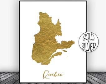 Quebec Print, Office Art Print, Gold Decor Quebec Map Print, Map Art Map Artwork Office Decor, Country Map, GoldArtPrint