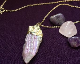 Gold Dipped Lavender Stone Necklace