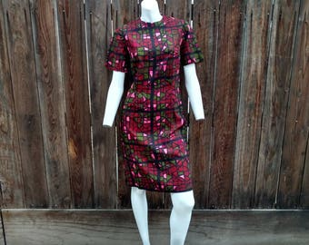 Vintage 50's 60's Cotton Wiggle Dress Novelty Stained Glass Mosiac Geometric 2 4 Small