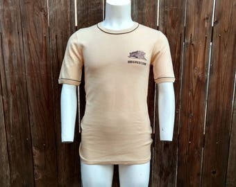 Vintage 70's 80's NOS Men's Ringer Tee Shirt T Souvenir Greece Cotton Small