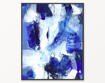Cobalt blue abstract instant download painting, blue printable abstract painting, blue wall art, acrylic painting wall art print