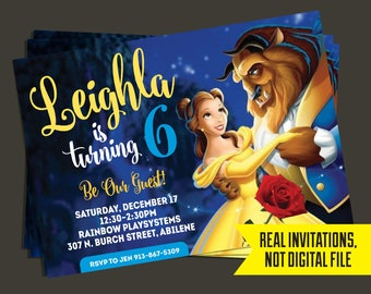 Beauty and the Beast Invitation - Beauty and the Beast Birthday Invitation - Belle Invitation