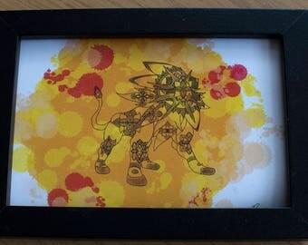"""Solgaleo Pokemon Mandala 4x6"""""""