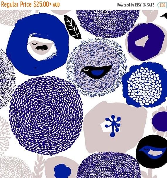 Sale Sunnuntai Blue Fabric By Kauniste Blue Scandinavian Fabric Bird Fabric Tablecloth Fabric Home Decor Fabric Extra Wide Fabric