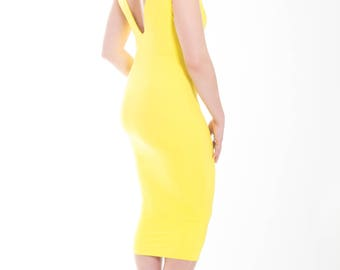 Lemon Yellow Sleeveless V Neck/V Back Body Con Dress