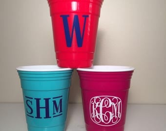 Monogrammed Insulated Party Cup - Turquoise