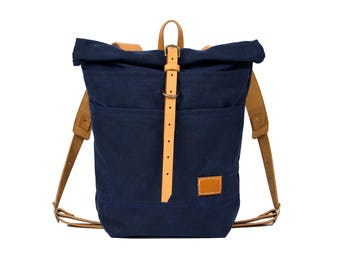 Leander Day Pack, Canvas Backpack, Canvas Bag, Waxed Canvas Backpack, Handmade