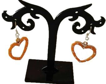 orange acrylic heart earrings