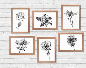 Botanical Wall Art, Bedroom Decor, Black and White Printable, Botanical Print Set, Flower print, Coloring pages, Hipster Room Decor