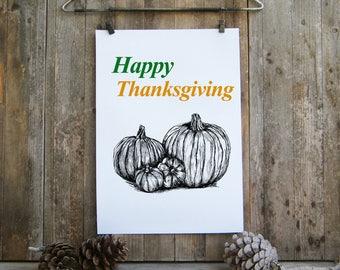 Thanksgiving gift, Printable Thanksgiving decor, Pumpkin clipart, Happy thanksgiving