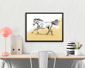 Framed Horse print, Nature Printable Art, Horse Art, Horse Decor, Farmhouse Decor, Art & collectibles, Cabin Decor, Gift For Him