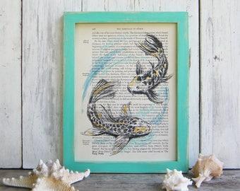 Koi Fish Art, Dictionary Print, Fish Print, Bedroom Decor, Book Art, Rustic Home Decor, Framed Art, Pisces Print,  Housewarming Gift