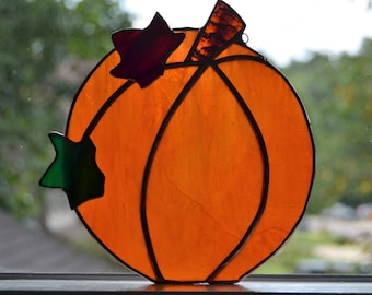 Stained glass orange pumpkin sun catcher with leaves 5.5 x 6.5
