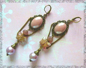 "Earrings Victorian ""Butterfly"" pink butterfly, Pearl, glass beads, Czech glass pink iridescent glass cabochon"