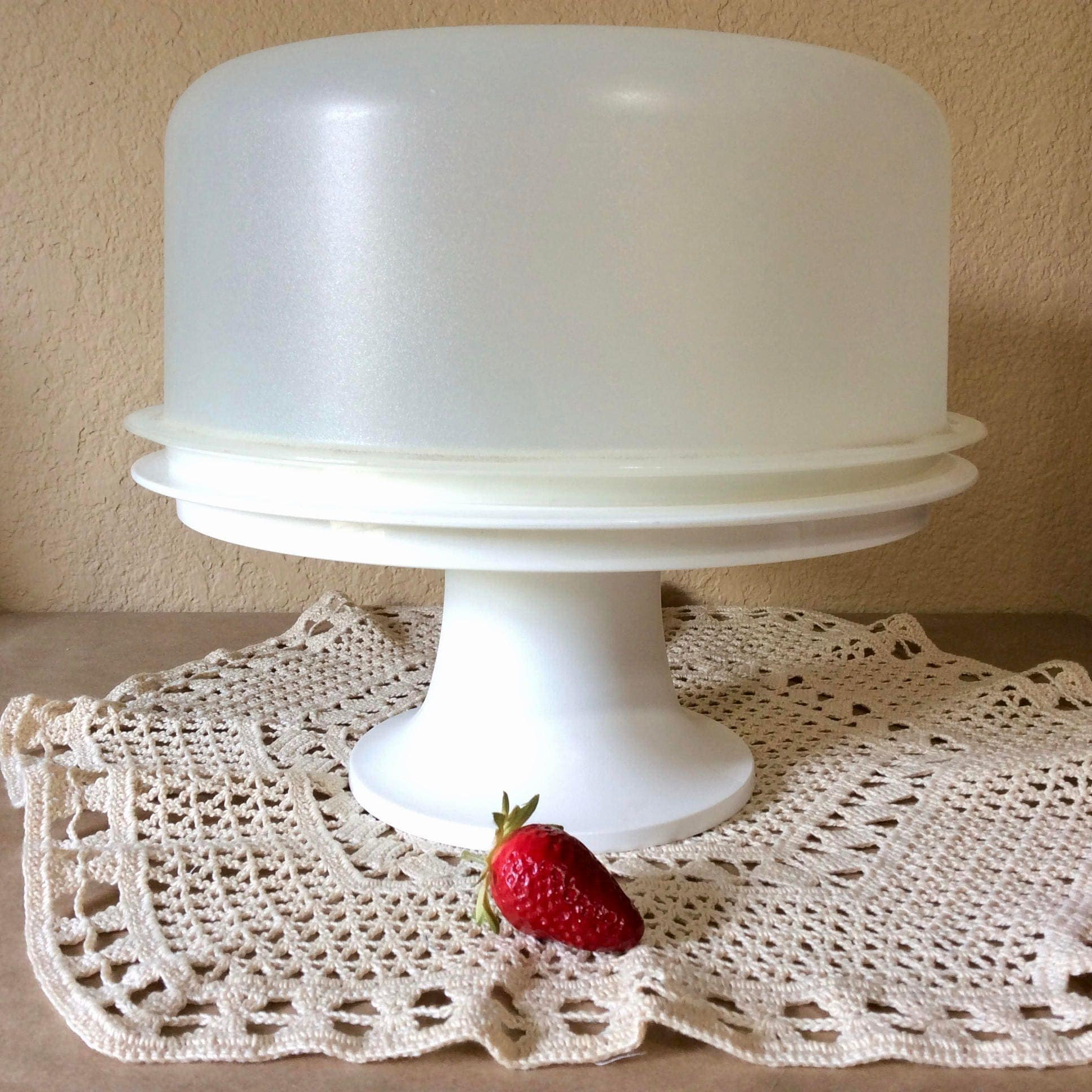 Vintage Tupperware Cake Taker Stand With Sheer Dome Lid And