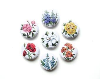 Set of Seven Vintage Floral Magnets/Pins | Flower Pin Set | Flower Magnet Set