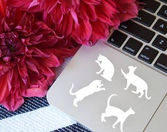 Set of 4, Cat lover gift, Cat decal, Cat sticker, Cat laptop decal, Cat laptop sticker, Cat bumper sticker, Cat gift, Cat mom, Cat vinyl