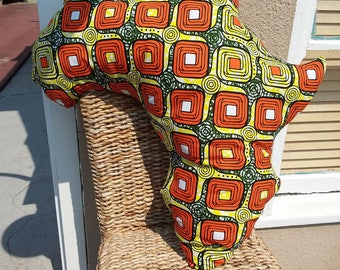 Africa Pillow-Orange Square